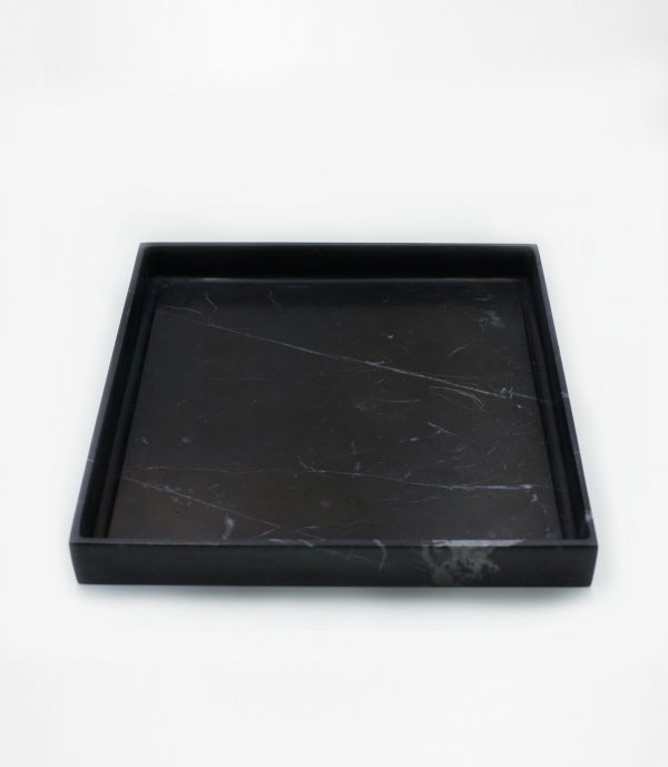 BOO7 ถาดสี่เหลี่ยม หิน Black marquina marble