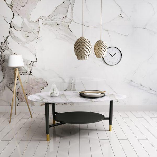 Two Layer Design Coffee Table โต๊ะกลางท็อปหินอ่อนรูปไข่