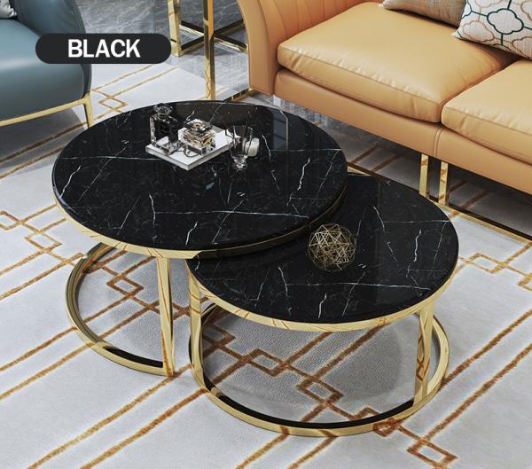 Marble Coffee Table Set โต๊ะกลางหินอ่อน ชุด 2 ตัว_Me Shopping
