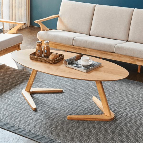 Wooden Oval Coffee Table โต๊ะกลางไม้ทรงรี